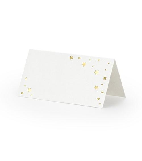 Platzkarten mit Sternen - weiß/gold - 10 Stück