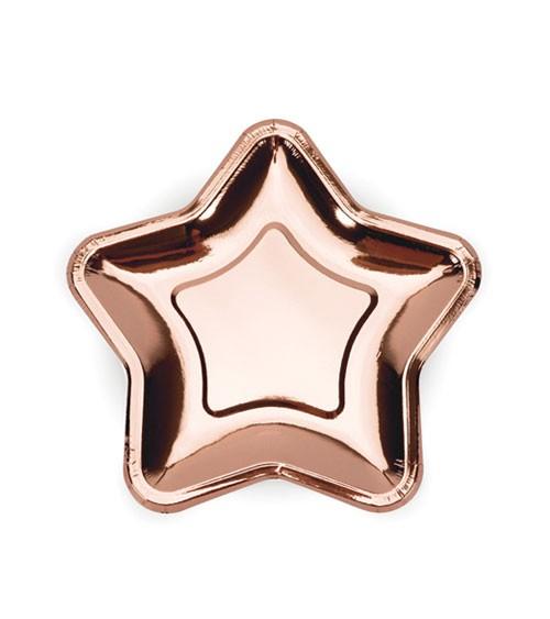 Kleine Stern-Pappteller - metallic rosegold - 6 Stück