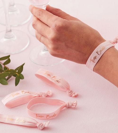 """Armbänder """"Team Bride"""" - rosa/rosegold - 5 Stück"""