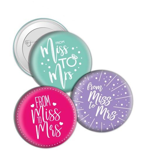 "Dein Button ""From Miss to Mrs"""