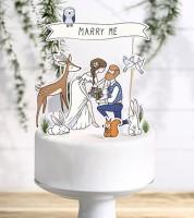 """Tortenstecker aus Papier """"Marry Me"""" - 10-teilig"""