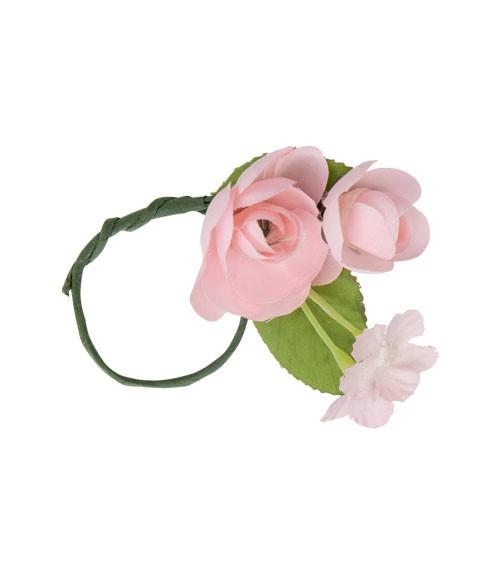Serviettenring mit Blüten - rosa - 5 cm - 4 Stück
