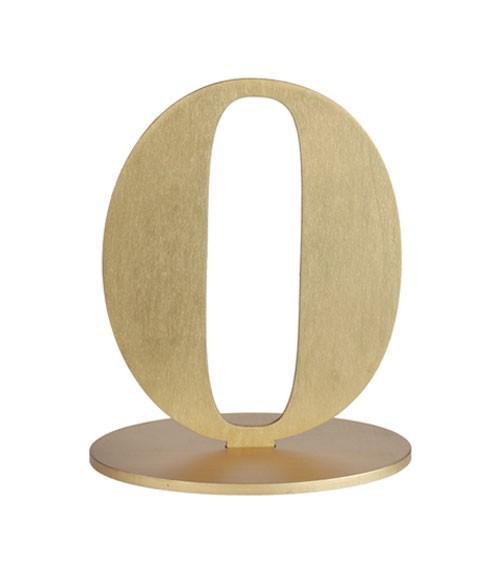 "Zahl aus Holz ""0"" - gold - 13 x 16 cm"