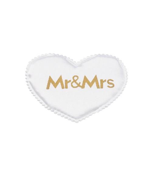 """Satin-Herzen """"Mr & Mrs"""" - weiß/gold - 6 cm - 6 Stück"""