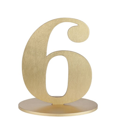 "Zahl aus Holz ""6"" - gold - 12 x 16 cm"