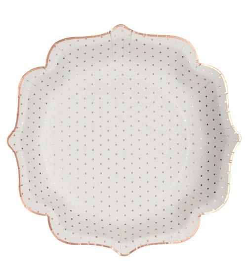 Pappteller mit rosegoldenen Pünktchen - weiß - 10 Stück