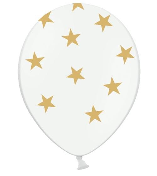 "Luftballons ""Goldene Sterne"" - weiß - 6 Stück"