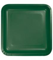 Eckige Pappteller - hunter green - 18 Stück
