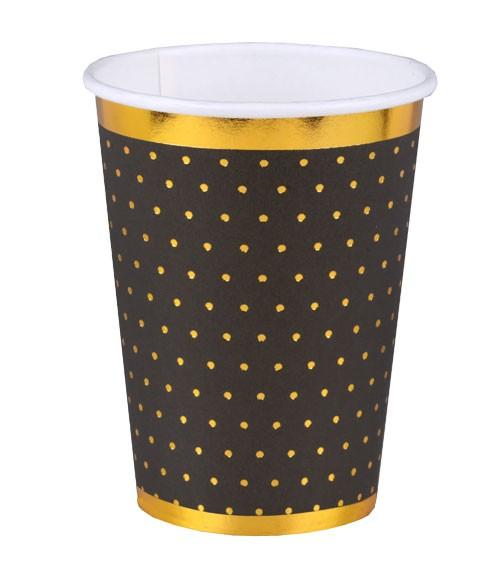 Pappbecher mit goldenen Pünktchen - schwarz - 10 Stück