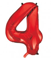 "Supershape-Folienballon ""4"" - rot - 86 cm"