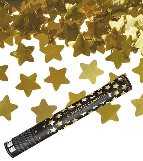 Konfetti-Kanone mit Sternen - gold - 40 cm