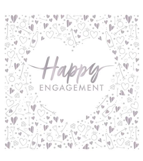 """Servietten mit Herz """"Happy Engagement"""" - weiß, silber - 16 Stück"""