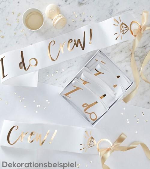 """Schärpen """"I do Crew"""" - weiß/gold - 6 Stück"""