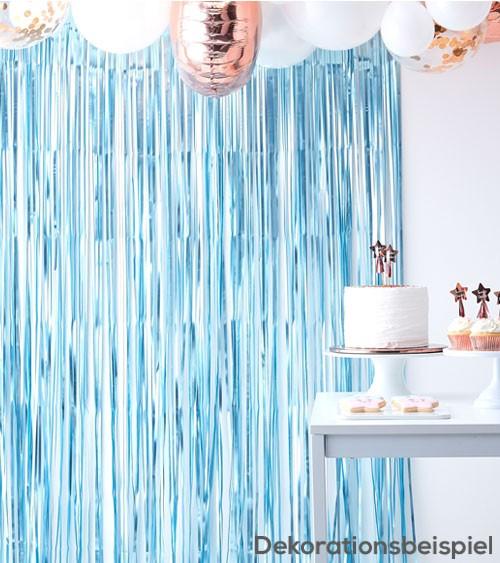 Fransenvorhang - blau metallic - 1 m x 2,5 m