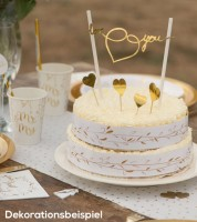 "Love-Kuchendekoration ""Gold & White"" - 6-teilig"