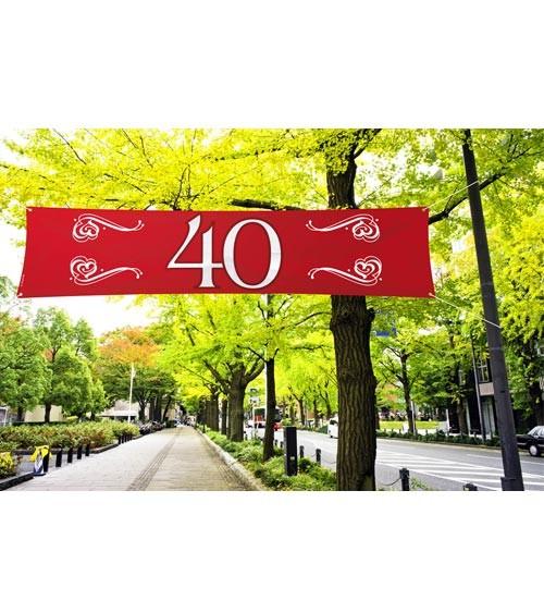 """Großer Banner aus Stoff """"40"""" - rot - 1,8 m"""