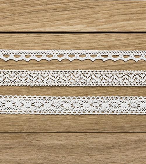 Spitzenbänder - weiß - 1, 1,5 und 2 cm x 1,5 m - 3 Stück