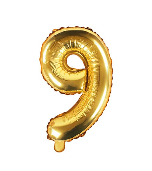 "Folienballon Zahl ""9"" - gold - 35 cm"