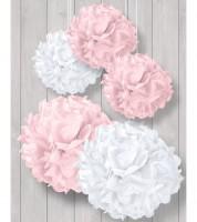 Pom Pom Set - rosa/weiß - 5-teilig