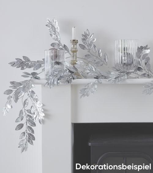 Blätter-Girlande aus Kunststoff - silber - 1,5 m