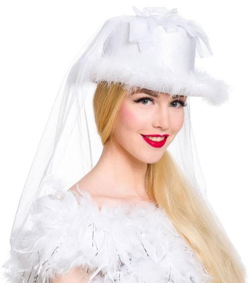 Weißer Hut mit Schleier