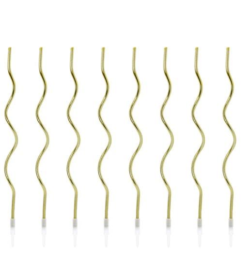 Spiralkerzen - gold - 14 cm - 8 Stück