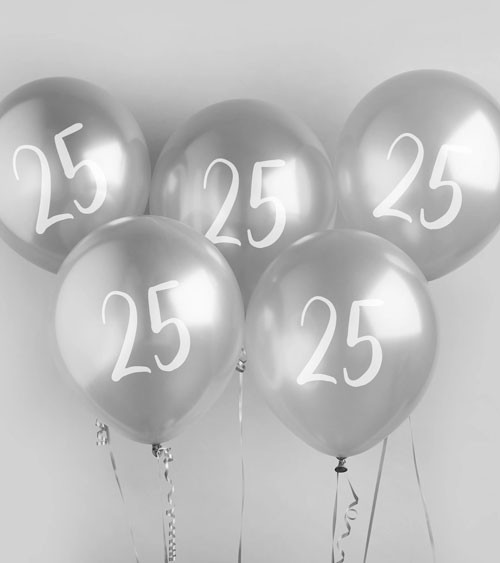 """Metallic-Luftballons """"25"""" - silber - 5 Stück"""