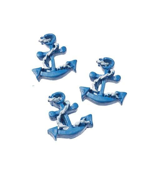 Anker aus Polyresin - blau - 2,8 cm - 3 Stück