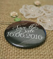Dein Button: Save the Date - Vintage schwarz - 56 mm