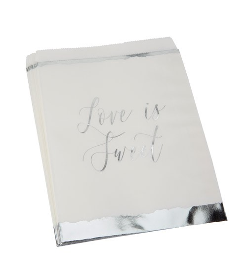"Süßigkeitentüten ""Dipped in Silver"" - Love is sweet - 25 Stück"
