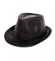Trilby-Hut mit Pailletten - schwarz