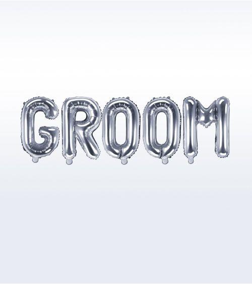 "Folienballon-Set ""Groom"" - silber"