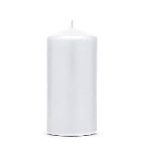 Stumpenkerzen - glänzend weiß - 12 x 6 cm - 6 Stück