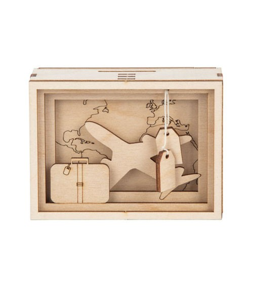 "DIY 3D-Geschenkbox aus Holz ""Reise"" - 11,5 x 8,5 x 5 cm"