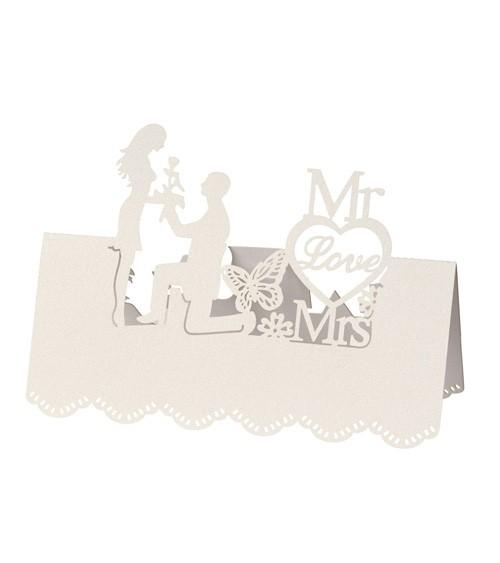 """Tischkarten """"Mr Love Mrs"""" - creme - 12,5 x 11 cm - 5 Stück"""
