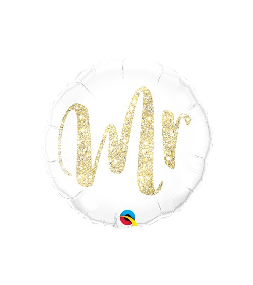 "Runder Folienballon ""Mr"" - glitter gold"