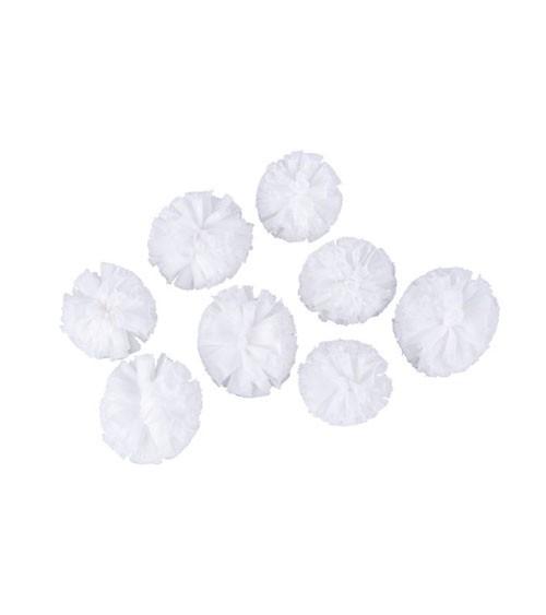 Soft-Tüll-Pompons - weiß - 4 und 5 cm - 8 Stück
