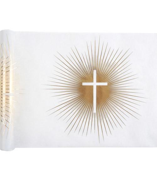 """Tischläufer aus Vlies """"Kreuz"""" - weiß, gold - 30 cm x 5 m"""