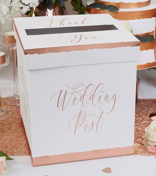 "Hochzeits-Kartenbox ""Dipped in Rosegold"" - 21 x 24,5 cm"