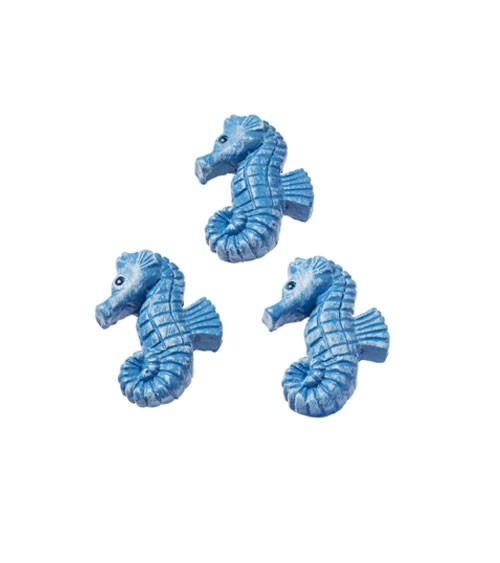 Seepferdchen mit Klebepunkt - blau - 2,5 cm - 3 Stück