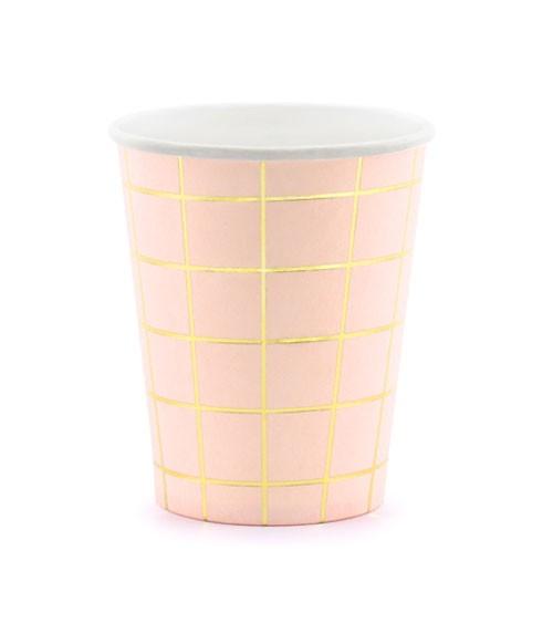 """Pappbecher """"Grid"""" - rosa/gold - 6 Stück"""