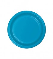 Kleine Pappteller - türkisblau - 24 Stück