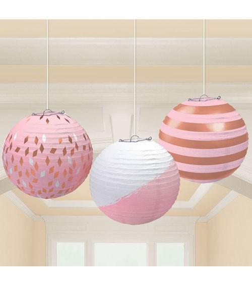 Lampion-Set - rosegold/rosa - 24 cm - 3-teilig
