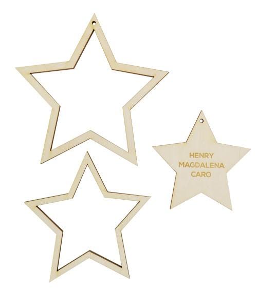 Deine Deko-Sterne mit Wunschtext - bis zu 5 Zeilen - 3 teilig