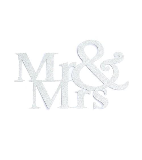 """Papier-Deko """"Mr & Mrs"""" - silber - 14,5 x 9 cm - 3 Stück"""