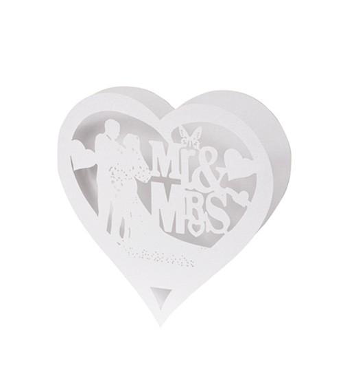 """Tischkarten in Herzform """"Mr & Mrs"""" - weiß - 16 x 8 cm - 5 Stück"""