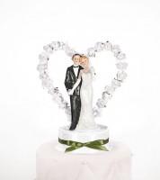 """Tortenfigur """"Brautpaar mit Herz"""" - weiß/grün"""