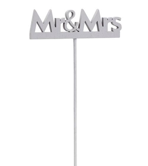 "Holzstab ""Mr & Mrs"" - grau - 8 cm - 2 Stück"