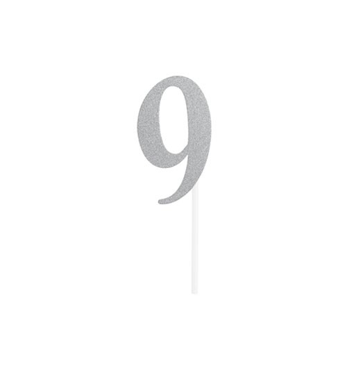"""Kuchen-Topper-Zahl aus Pappe """"9"""" - glitter silber - 5 x 8 cm"""