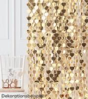 Herz-Vorhang - gold metallic - 1 m x 2,5 m